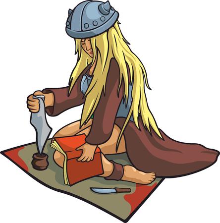 mythological character: Nice vector blonde girl viking healer in funny helmet