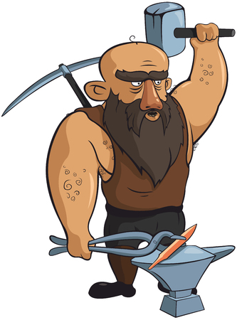 Vector strong blacksmith with hammer and pickaxe