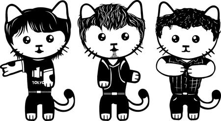Vector modern fashionable dressed cats. Part 4