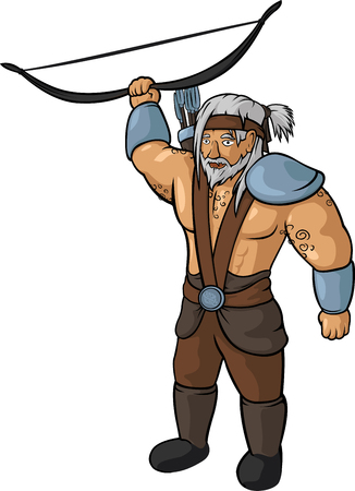 Vector medieval gray-haired archer