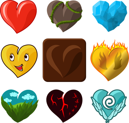 fire and ice: Different vector hearts icons set