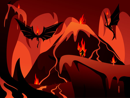 Arte con el infierno, el volcán, los demonios y la ilustración vectorial humana. Foto de archivo - 88965169