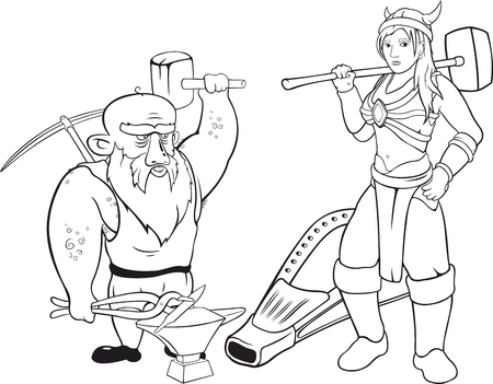 Two vector black contours of blacksmiths with hammers on white background