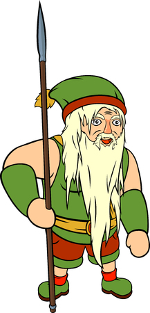 Old gray haired gnome with big green hat