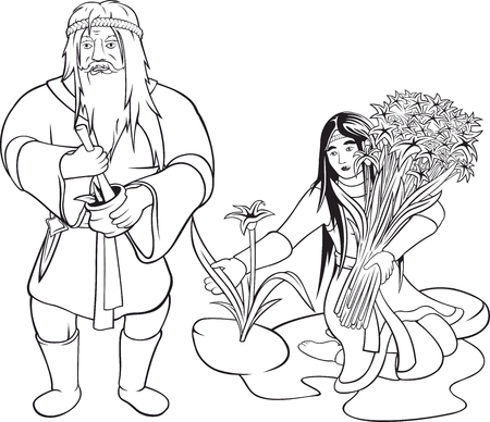 Two vector cartoon old and young herbalists black contours on white background