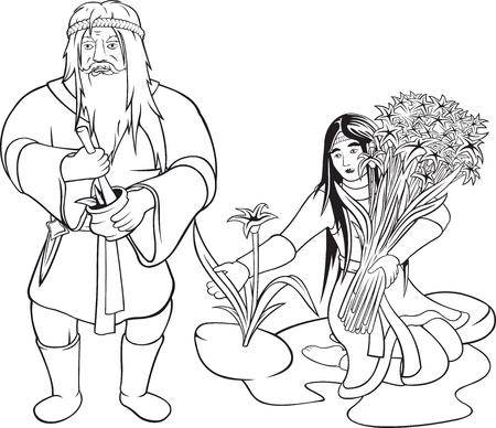 2 つの白い背景の上の漫画老いも若き薬草黒輪郭をベクトルします。 写真素材 - 90233782
