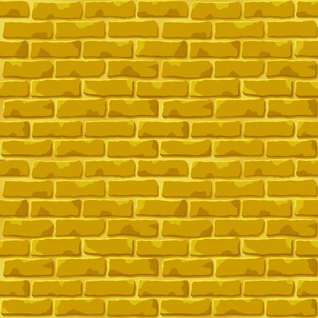 Nice vector golden brick wall background seamless design