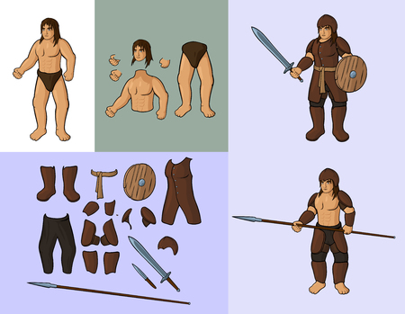 Human with set of leather armor Vector cartoon illustration