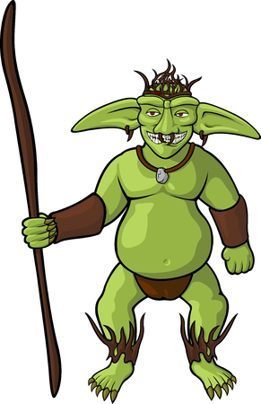 Cartoon goblin shaman on white background Illustration