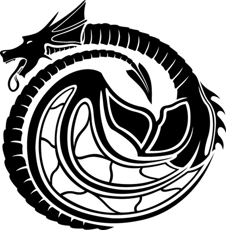 Art with stylized black dragon on white illustration.