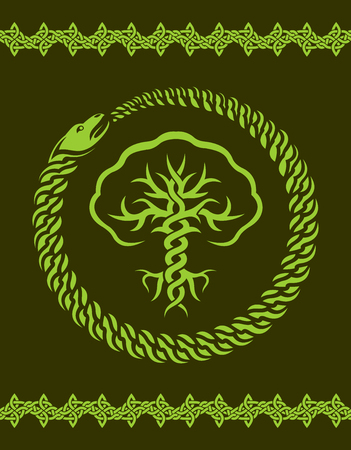 Green celtic pattern with stylized tree and snake Stock Illustratie