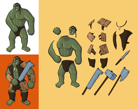 Set of orcs v1. Strong orc and equipment: Vector cartoon orc body parts with armor and weapon Çizim