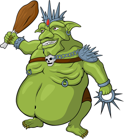 Vector cartoon king of goblins on white background Illustration
