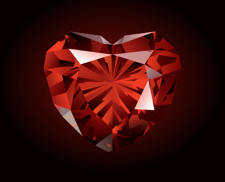 Vector shiny beautiful red faceted garnet in the shape of heart on dark background. Illustration