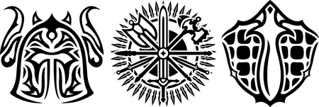 Black and white icons with warriors equipment