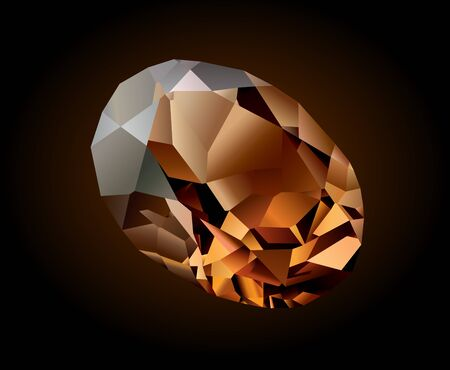 Vector shiny beautiful brown crystal rauhtopaz on dark background