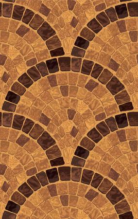 中世のモザイク岩の道を持つベクトルシームレスな詳細なテクスチャ  イラスト・ベクター素材