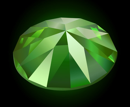 Beautiful faceted shining green on dark background Illustration