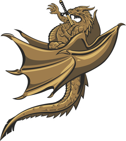 Cartoon dragon with sword in his heart on white background