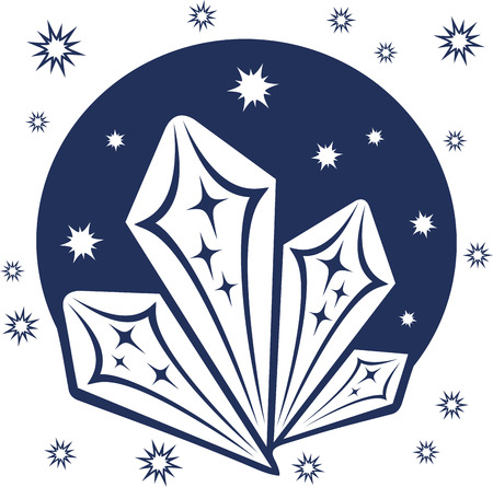 Art with stylized blue ice crystals and snowflakes