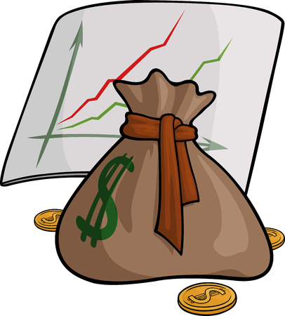 Illustration with brown pouch with coins and graphs Illustration