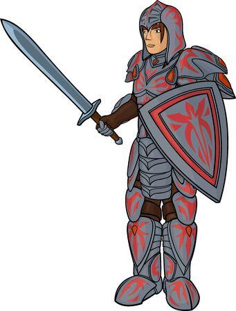 Warrior in full heavy armor on white background Stock Illustratie