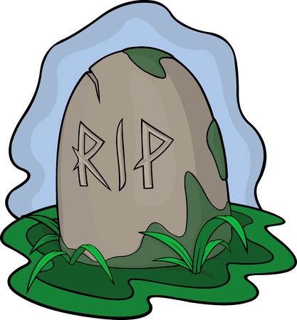 Cartoon art with gravestone in the swamp on white background.