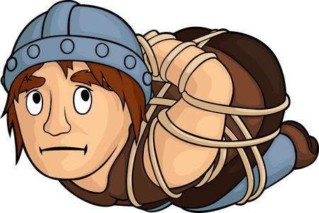 Comic cartoon captured medieval warrior on white background