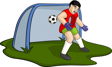 Illustration of a cartoon football player with a hole and a ball and net