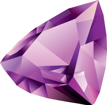Isolated vector shiny beautiful violet faceted amethyst on white background Vettoriali