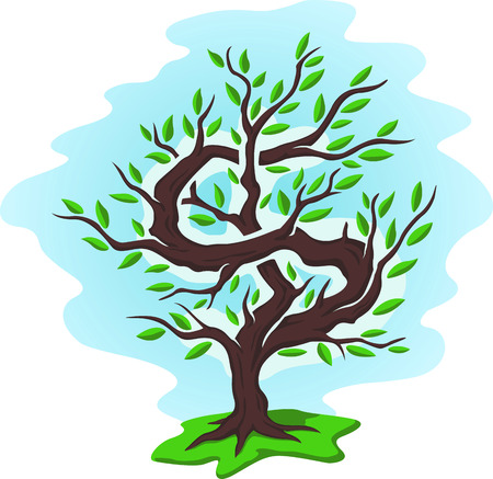 Illustration with summer tree with green foliage in the form of a dollar