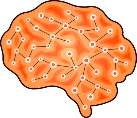 The silhouette of the brain with graph on white background
