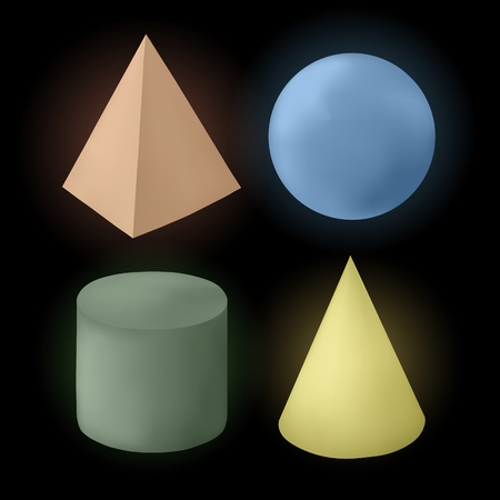 Isolated colored different shiny geometrical figures on black background