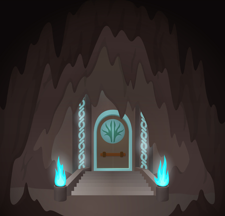 Fantasy art with cartoon mystic gates in the cave