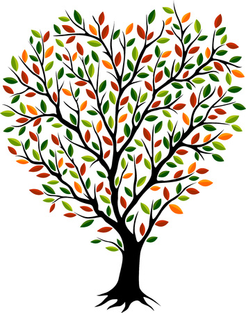 Beautiful autumn tree silhouette with different color leaves on white background
