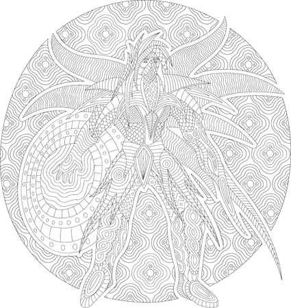 Coloring book page with future fantasy character Stockfoto