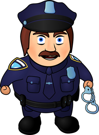 Angry cartoon policeman with handcuffs on white background