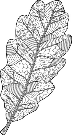 Coloring book page with decorative oak leaf on white background