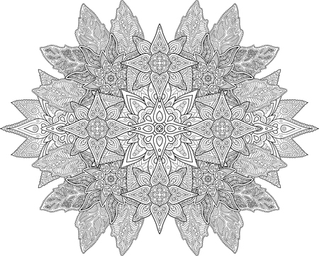 Beautiful coloring Book page with detailed floral pattern on white background Imagens