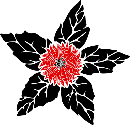 Beautiful pattern with red flower and black leaves on white background Imagens
