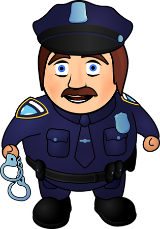 Cartoon funny smiling policeman with handcuffs on white background