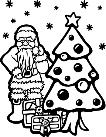 coloring book page with cartoon santa christmas tree and gifts on white backgrounds stock photo
