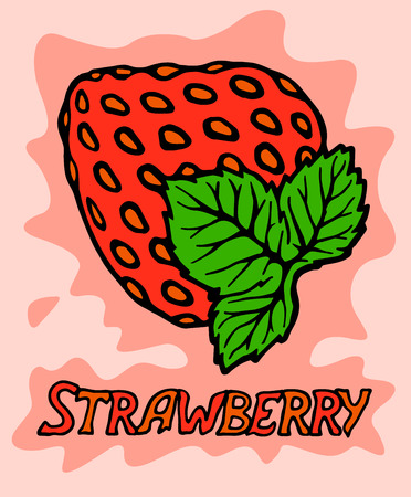 Decorative red strawberry with text on pink background Standard-Bild
