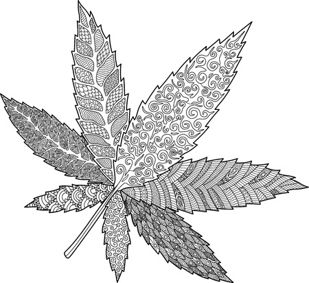 Adult coloring book page with decorative cannabis leaf on white background Stock Photo