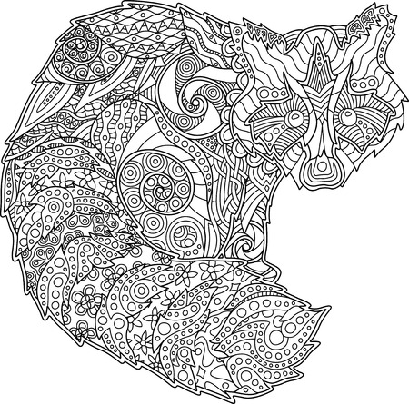 Detailed adult coloring book page with decorative funny raccoon on white background Stockfoto