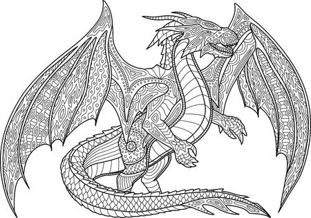 Erwachsene Malbuchseite mit schönem Drachen auf weißem Hintergrund