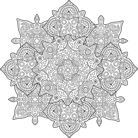Beautiful coloring Book page with detailed pattern with drops on white background