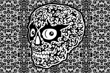 Monochrome art with decorative skull on beautiful background Illustration