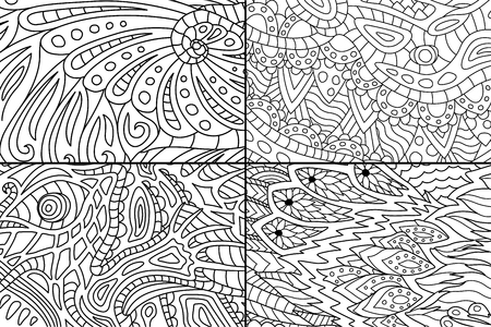 Abstract black and white patterns for coloring book pages Illustration