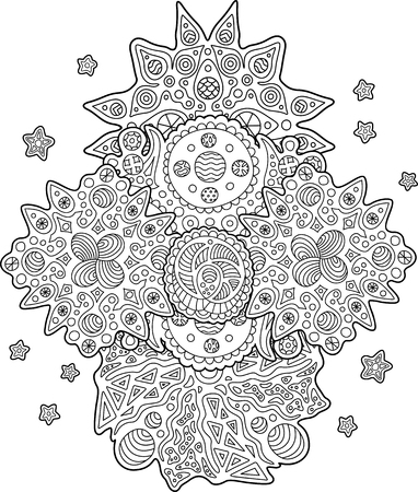 Beautiful coloring Book page with detailed cosmic pattern on white background